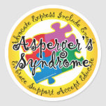 Asperger's Syndrome Puzzle Pin Classic Round Sticker