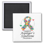Asperger's Syndrome Ribbon of Butterflies Square Magnet