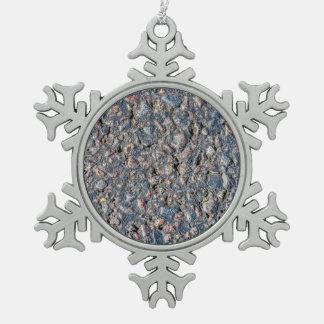 Asphalt and pebbles texture snowflake pewter christmas ornament