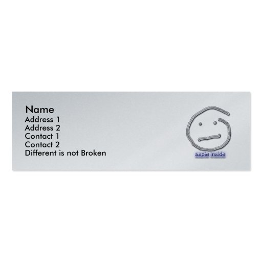 Aspie Inside Profile Card Template Pack Of Skinny Business Cards