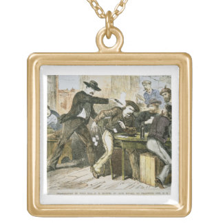 Assassination of 'Wild Bill' (W.B. Hickok) by Jack Gold Plated Necklace