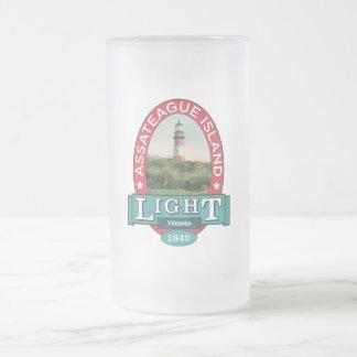 Assateague Island Lighthouse Frosted Glass Beer Mug