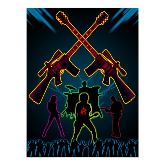 Assault Guitar Blacklight Poster