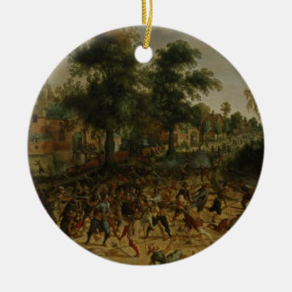 Assault on a Town (oil on canvas) Christmas Ornaments