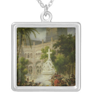 Assault on Monastery of San Engracio in Silver Plated Necklace