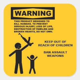 Assault Weapon Warning Square Sticker