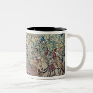 Assembling the Riders, from the tapestry of 'David Two-Tone Coffee Mug