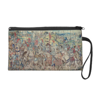 Assembling the Riders, from the tapestry of 'David Wristlet Clutches