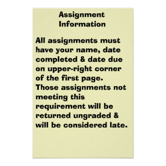 Assignment Information Poster