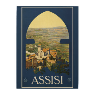 Assisi Italy vintage travel wood canvas