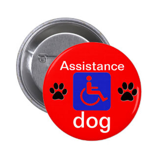 assistance dog disabled symbol with paws pinback button