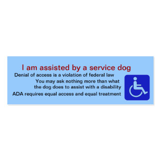 Assisted by service dog cards pack of skinny business cards