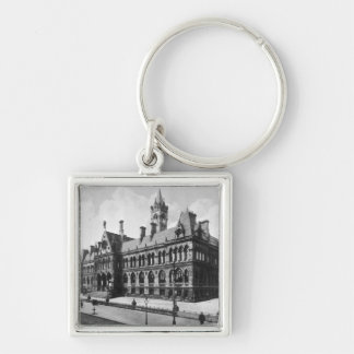Assize Courts, Manchester, c.1910 Silver-Colored Square Key Ring