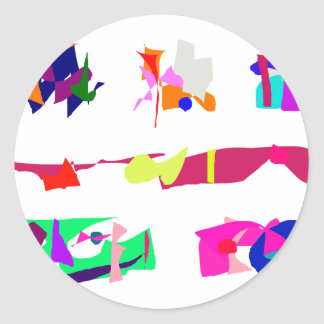 Assorted Abstracts Classic Round Sticker