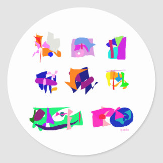 Assorted Abstracts Round Sticker