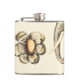 Assorted Animals Painted on Cream Background Hip Flask