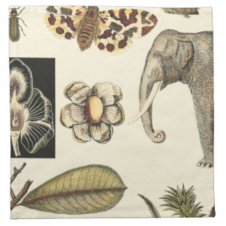 Assorted Animals Painted on Cream Background Napkin