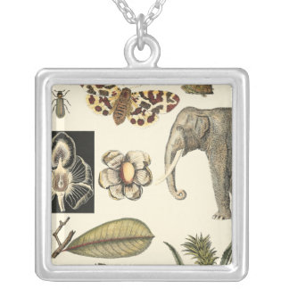 Assorted Animals Painted on Cream Background Silver Plated Necklace