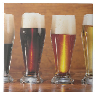 Assorted beers and ales large square tile