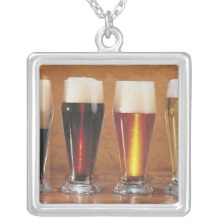 Assorted beers and ales silver plated necklace