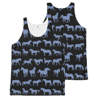 Assorted Blue Horse Breeds All-Over Print Tank Top