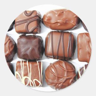 Assorted Chocolates Round Stickers