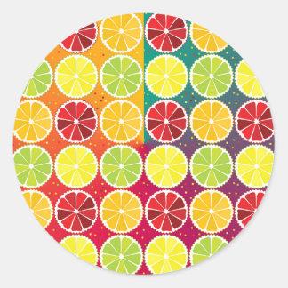 Assorted citrus pattern round sticker