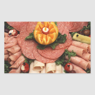 Assorted cold meats rectangle sticker