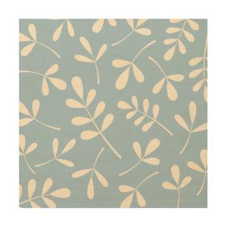 Assorted Cream Leaves on Blue Design Wood Wall Art