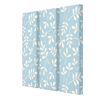 Assorted Cream Leaves on Blue Pattern Canvas Print