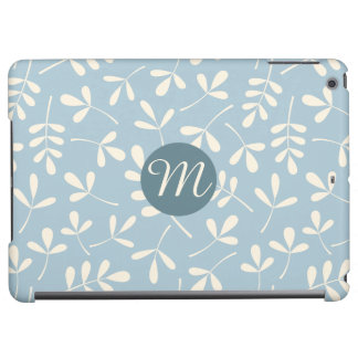 Assorted Cream Leaves on Blue Ptn (Personalised) Cover For iPad Air