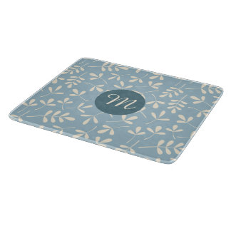 Assorted Cream Leaves on Blue Ptn (Personalized) Cutting Board