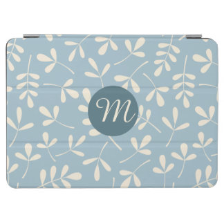Assorted Cream Leaves on Blue Ptn (Personalized) iPad Air Cover