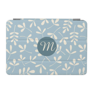 Assorted Cream Leaves on Blue Ptn (Personalized) iPad Mini Cover