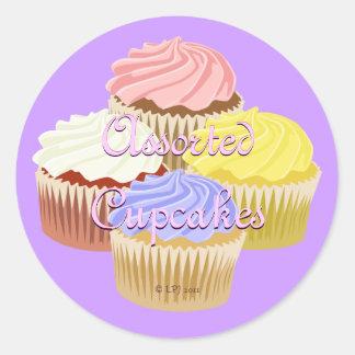 Assorted Cupcake Labels Round Sticker