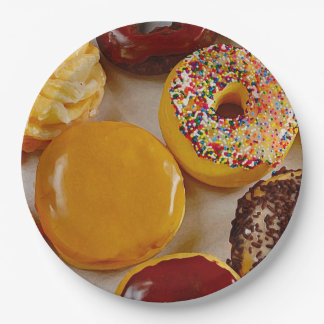 Assorted donuts 9 inch paper plate
