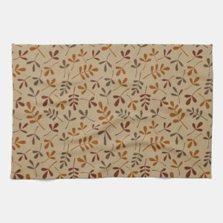 Assorted Fall Leaves Repeat Pattern Tea Towel