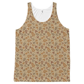 Assorted Fall Leaves Small Pattern All-Over Print Tank Top