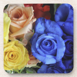 Assorted fresh rose bouquets beverage coaster