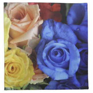 Assorted fresh rose bouquets napkin