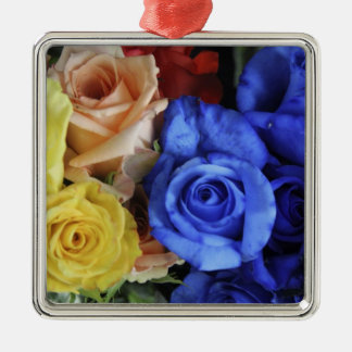 Assorted fresh rose bouquets Silver-Colored square decoration