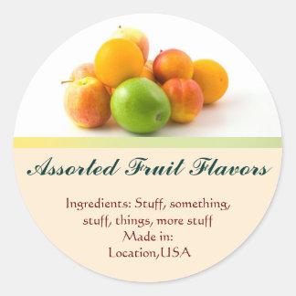 Assorted Fruit Flavor Labels Round Sticker