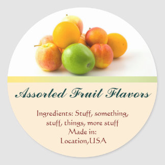 Assorted Fruit Flavour Labels Round Sticker