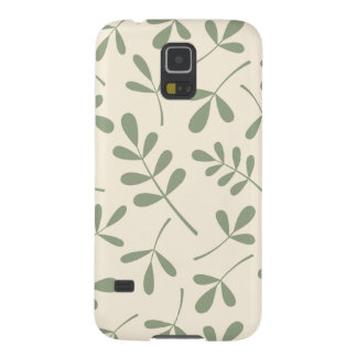 Assorted Green Leaves on Cream Design Galaxy S5 Cover