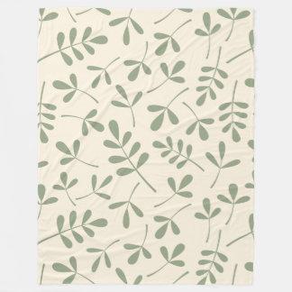 Assorted Green Leaves on Cream Pattern Fleece Blanket