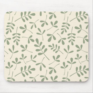 Assorted Green Leaves on Cream Pattern Mouse Pad