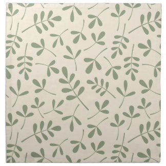 Assorted Green Leaves on Cream Pattern Napkin