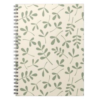 Assorted Green Leaves on Cream Pattern Notebook