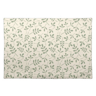 Assorted Green Leaves on Cream Pattern Placemat