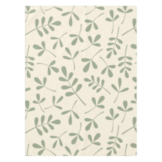 Assorted Green Leaves on Cream Pattern Tablecloth